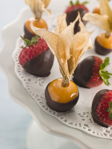 Tray of Hand-Dipped Chocolate Fruits